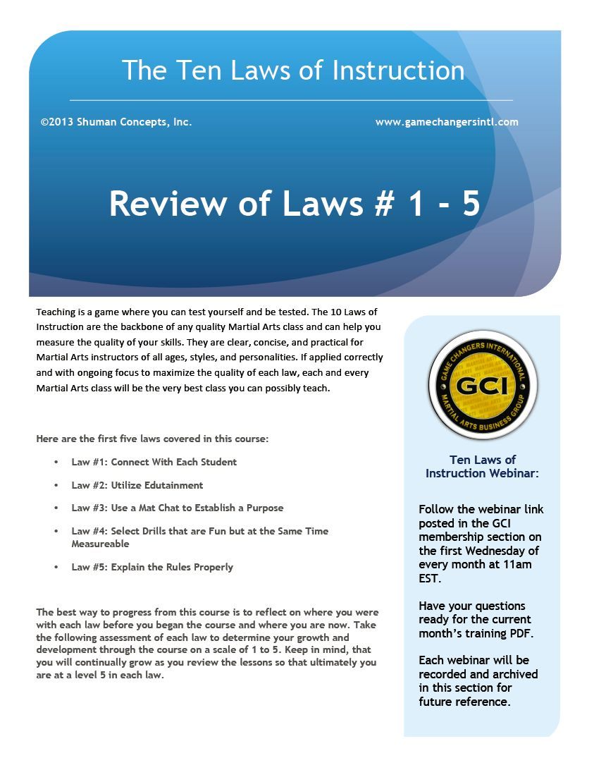 Laws 1 - 5 Review PDF and Test